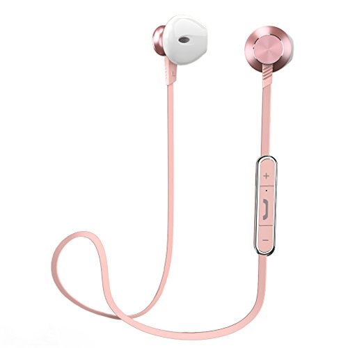 Aluminum In Ear Earphones - Bluetooth earphones, Wireless earbuds Sports Earphones in Ear headset with 7 Hours Playtime (IPX4 Splashproof, Stereo Bass, Magnetic Aluminum Design, cVc 6.0 Noise Cancelling (Pink)