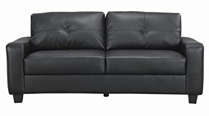 Coaster Jasmine Transitional Bonded Leather Sofa, Black