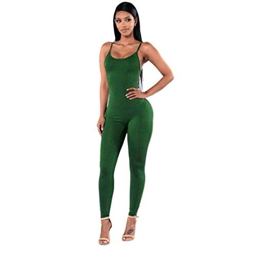 HARRYSTORE Traje de mujer Mujer halter Jumpsuit ajustado Pantalones deportivos elásticos para mujeres polainas leggings Ejercito verde