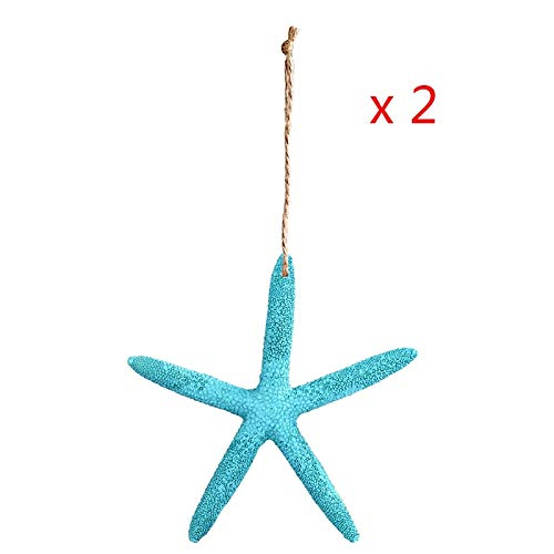 Beach Decorations For Party - Beach Theme Party Decorations - OurWarm 2pcs 10cm Artificial Starfish White/Blue Five Finger Starfish Place Cards Beach Wedding Decor Beach Coastal -