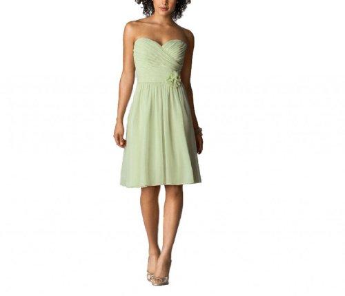 Kleidungen Ausschnitt Herz Damen Knielang Chiffon Salbei Linie Dearta Aermellos A Brautjungfernkleider qxW75HH