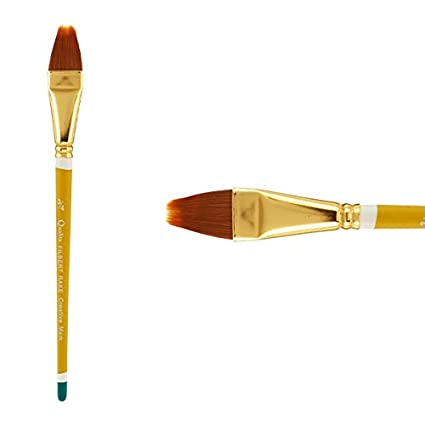 Creative Mark Qualita Golden Paint Brush Taklon Short Handle Paint Brush For Acrylics Oils Fine Art Heavy Bodied Media Single Brush Filbert