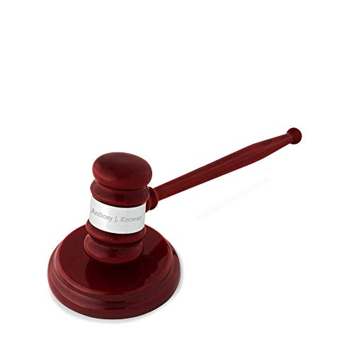 Things Remembered Personalized High Gloss Mahogany and Silver Gavel with Engraving Included