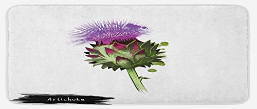 Ambesonne Artichoke Kitchen Mat, Blooming Cardunculus Hand Drawn Organic Food Art Illustration Print, Plush Decorative Kithcen Mat with Non Slip Backing, 47 W X 19 L Inches, Violet and Fern Green