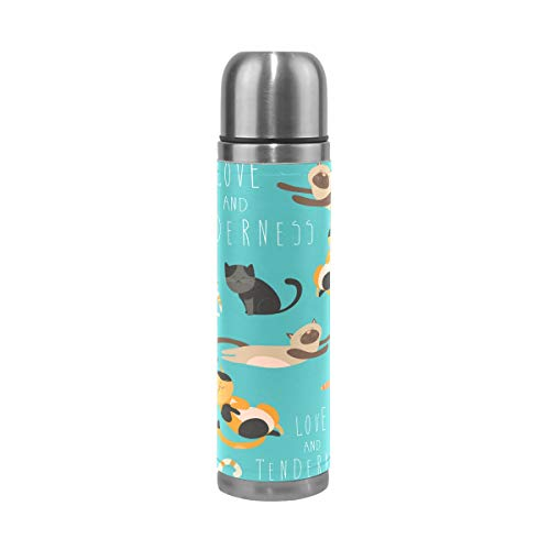 LDIY Cats Funny Thermos Sport Water Bottle Pots Stainless Steel Insulated Vacuum Flask Leather Wrapped(500ML)