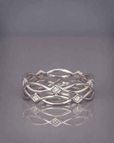 White Band Gold Bridal Celtic (| 14k white Gold Eternity Ring set with Diamonds | Handmade 14k white gold Celtic wedding band set with brilliant diamonds | Bridal Ring)