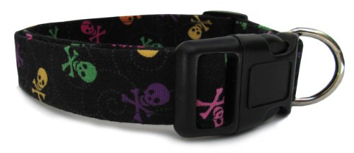 Adjustable Dog Collar in Black with Multi-colored Skulls (Handmade in the U.S.A), My Pet Supplies