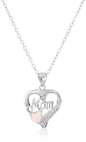 Sterling Heart Pendant Necklace Diamond Accents