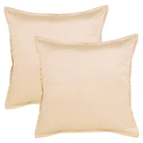 The White Petals Set of 2 Euro Sham Cream with Flange (26X26 inches, Solid Cream)