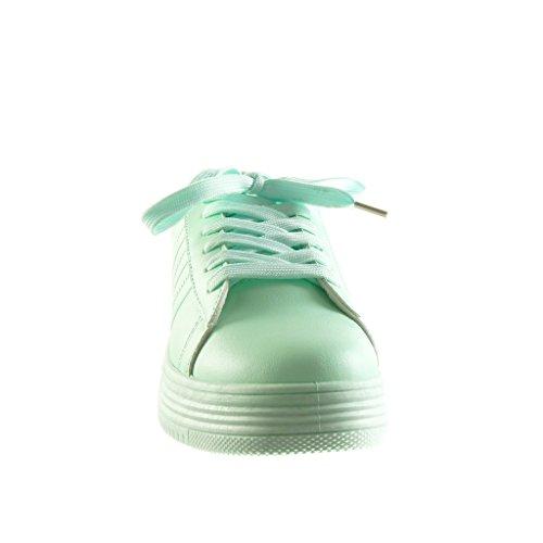Angkorly - Scarpe da Moda Sneaker Tennis zeppe low donna finitura cuciture impunture Tacco zeppa piattaforma 3.5 CM - Verde