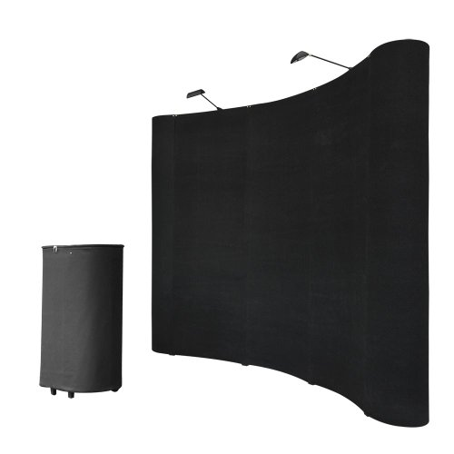 8FT Black Pop Up Trade Show Display Booth Floor Presentation Kit Trolley Case Presentation Board Spotlights by Yescom