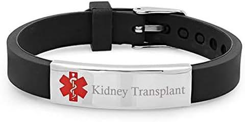 Custom Free Engraving Medical Alert Organ Heart Kidney Liver Lung Transplant Awareness Silicone Bracelet Allergy Disease Identification Emergency Life Saver Bangle for Son,Daughter