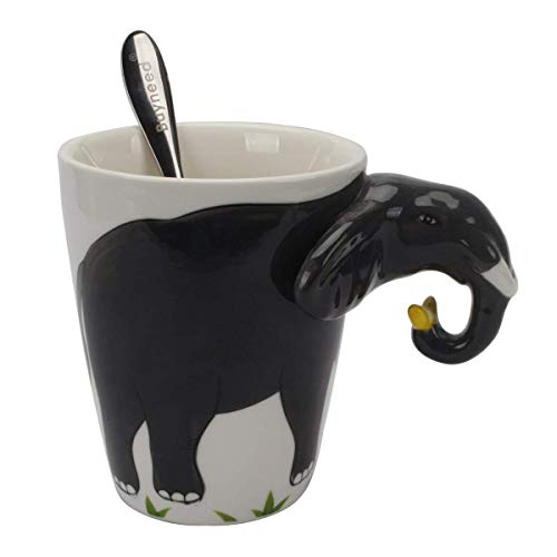 Elephant Coffee Mug (Novelty Funny Hand Painted Coffee Mug - Elephant 3D Handle Handmade Large 15 oz Porcelain Tea Cup Unique Ideal Gifts -Black)