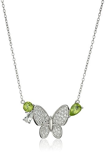 Rhodium Plated Sterling Silver Peridot and Created White Sapphire Butterfly Necklace, 18