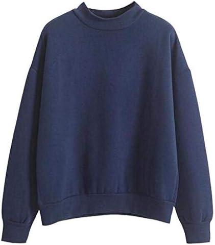 レディースロングスリーブラウンドネック ソリッドカラー スウェットシャツ トップ Black US X-Small