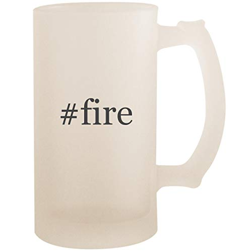 #fire - 16oz Glass Frosted Beer Stein Mug, Frosted