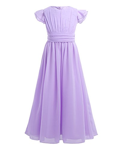 (YiZYiF Girls' Kids' Flutter Sleeves Ruffles Bridesmaid Prom Gown Party Long Flower Girl Dress Lavender)