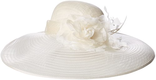 Scala Women's Big Brim Sinamay Hat With Cryn, Ivory, One Size by Scala