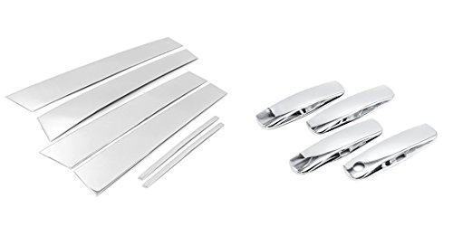Sizver Chrome Stainless Steel Pillar Posts Accent+Door Handle Covers For 2011-2015 Dodge Charger 6pcs (Stainless Steel Charger Dodge Pillar)