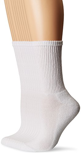 (Gildan Women's Half Cushion Crew Socks, 10 Pairs, white, Shoe Size: 4-10)