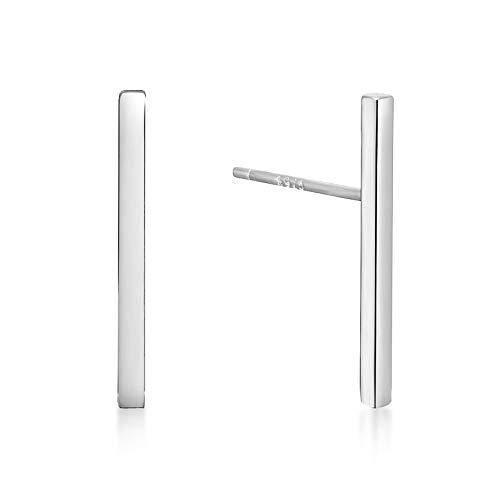 (Minimalist 925 Sterling Silver Stud Earrings Modern Bar Geometric Design (Rhodium Flashed))