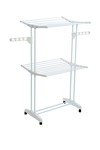 YUBELLES Double-Layer Multipurpose Clothes Drying Rack, White Rustproof Collapsible Stable Durable Laundry Rack Two Piece Adjustable Pipe