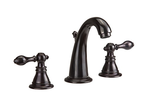 Derengge F-9305TB-KGORB Two-Handle 8″ Widespread Bathroom Sink Faucet with Pop up Drain,cUPC NSF AB1953 Lead Free Matte Black