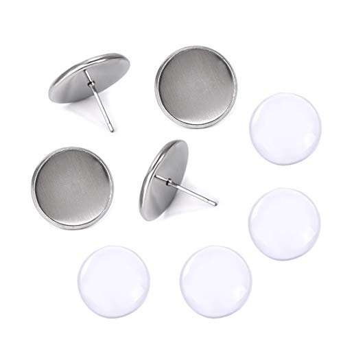 DROLE 50 Sets 12mm Stainless Steel Flat Round Ear Stud Components Kit-50Pcs Earstud Posts with 50Pcs 12mm Round Glass Cabochons,Stud Earring Cabochon Setting Post Cup with Round Clear Cabochons