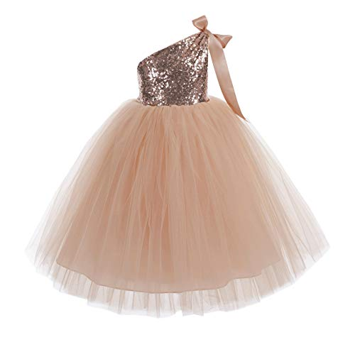 ekidsbridal One-Shoulder Sequin Tutu Flower Girl Dress Wedding Pageant Dresses Ball Gown Tutu Dresses 182 5 Rose Gold