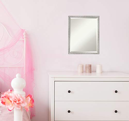 Amanti Art Framed Mirrors for Wall | Shiplap White Narrow Mirror for Wall | Solid Wood Wall Mirrors | Small Wall Mirror 17.00 x 21.00