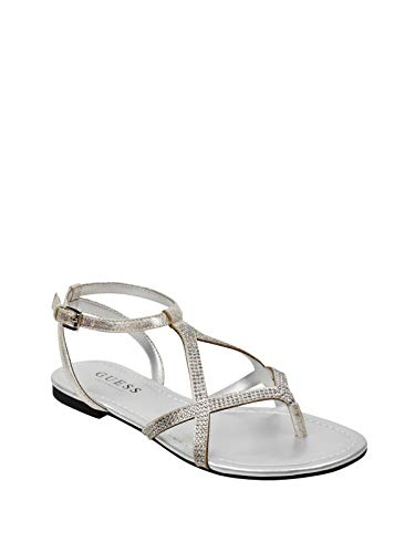 GUESS Factory Women's Jalissa Rhinestone Strappy Sandals (Strap Guess Sandals Ankle)