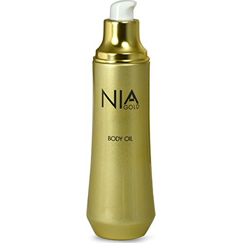 Nia Gold Luxury Anti-Aging Skin Care Body Oil with 24 KT Gold, Milk, Honey, Caviar, Vitamin E, and French Sea Salt. 4oz.