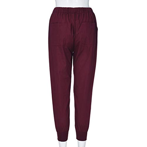 Jeans Ocio de Yoga Fitness ASHOP Pantalones de Pantalón sólida de Vaqueros Estilo Cintura Mujer Rojo Cordón Impreso de Leggings Cintura Pantalones Boho Media Alta Cintura zHnAwqRxn