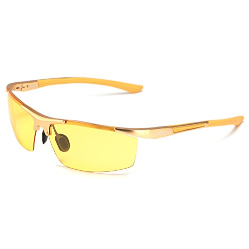 HD Night Driving Glasses Polarized Anti-glare Rain Day Night Vision Sunglasses (gold, - Around Seen Tv Wrap Sunglasses On As