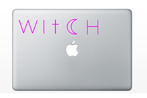 Witch Cross and Crescent Moon Quote Name (MAGENTA PINK) Vinyl Decal Stickers for MacBook Laptop Car Love Forever Birds Always Relationships Feathers Magic Wicca Halloween Samhain Pagan