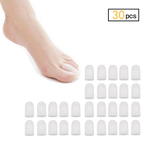 30 Pieces Gel Toe Caps, Silicone Toe Protector, Toe Covers, Protect Toe from Rubbing, Ingrown Toenails, Corns, Blisters, Hammer Toes and Other Painful Toe Problems - Small