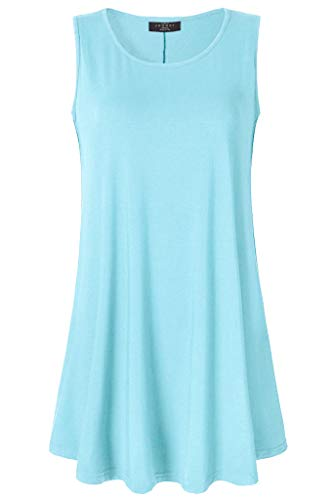 Swing Aqua (Lock and Love LL WT2098 Women Solid Sleeveless Tunic for Leggings Swing Flare Tank Tops S-5XL Plus Size Made in USA M Aqua)