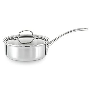 Calphalon Tri-Ply Stainless Steel Cookware, Shallow Sauce Pan, 2 1/2-quart