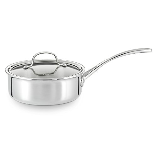 Calphalon Tri-Ply Stainless Steel 2-1/2-Quart Shallow Sauce with - Covered Pot 2.5 Quart