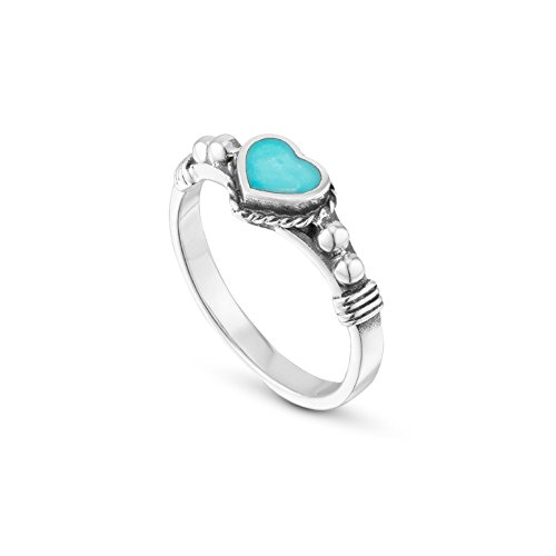 925 Sterling Silver Band Ring Delicate Turquoise Heart Solitaire Ring Size 8