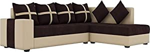 Lillyput Interio Angel Fabric 6 Seater Sofa with Center Table & 2 Puffy