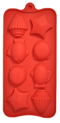 "8 Cavity Bite-Size Seashell Silicone Candy and Chocolate Mold Pan (Fish, Shells and Starfish) Cavities are aprox. 1 1/2"" x 1/2"" deep"