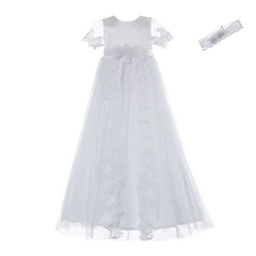 (NIMBLE Baby Girls Christening Lace Mesh Dress Set with Headband for 0-12)
