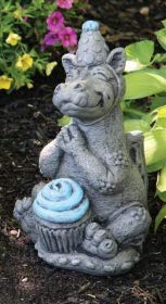 Massarelli's Lil Dragon Celebrate Blue Cupcake - Solid Cast Stone Garden Statue - a Great Home or Garden Gift Idea - Durable, Lifelike Sculpture - Fun Exterior and Interior - Cupcake Blue Lil