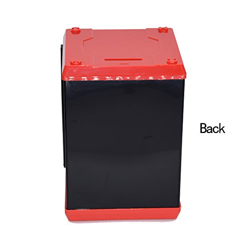 Code Electronic Piggy Banks Mini ATM Electronic Save Money Coin Bank Coin Box For Kids With Electronic Lock & Secret Code To Unlock with Password Great Gift Toy for Children Kids(Black & Red)