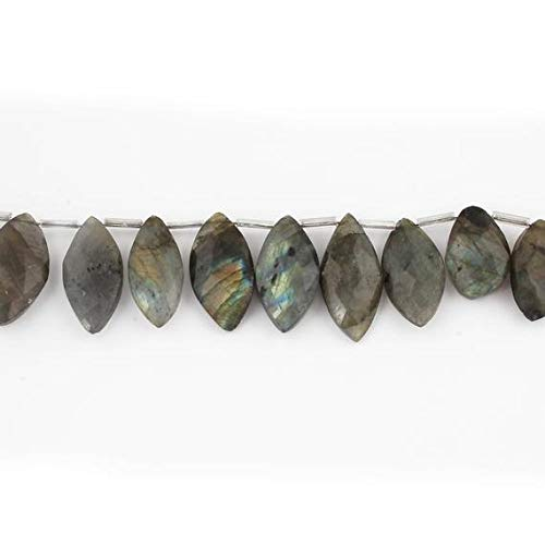 - GemAbyss Beads Gemstone Big Halloween Sale 1 Strand New Rare Front Flash Labradorite Faceted Briolettes -Marquise Shape Beads 20mmx13mm-30mmx12mm 8.5 inches SB2402 Code-MVG-36710