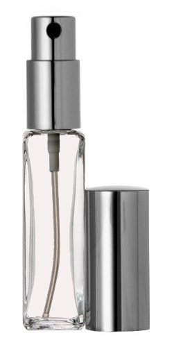 Riverrun Small Travel Cologne Perfume Atomizer Empty Refillable Slim Glass Bottle Silver Sprayer 1/4 oz. 7.5ml (1 Bottle) ()
