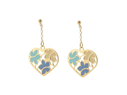 (Fronay Co .925 Sterling Silver Etruscan Blue Flowered Heart Earrings Dipped in Gold)