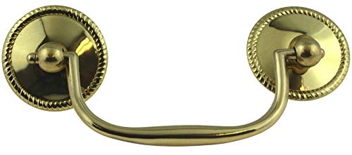 4in Brass Polished Backplate (Sheraton Stamped Brass Drawer Bail Pull Handle Centers: 3