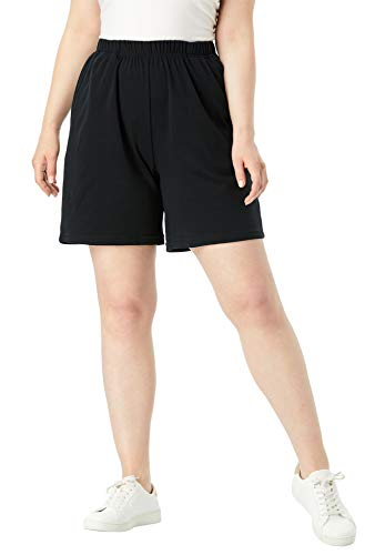 Stag Short - Roamans Women's Plus Size Soft Knit Shorts - Black, L